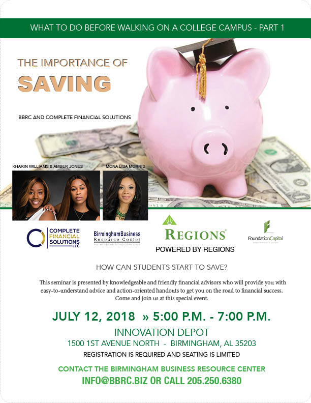 flyer for The Importance of Saving