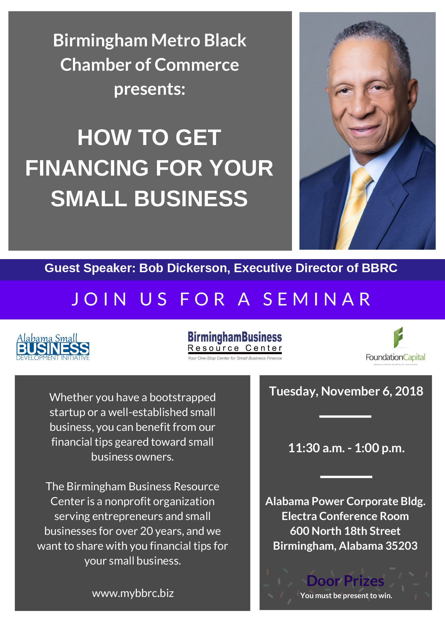 flyer for How To Get Financing For Your Small Business