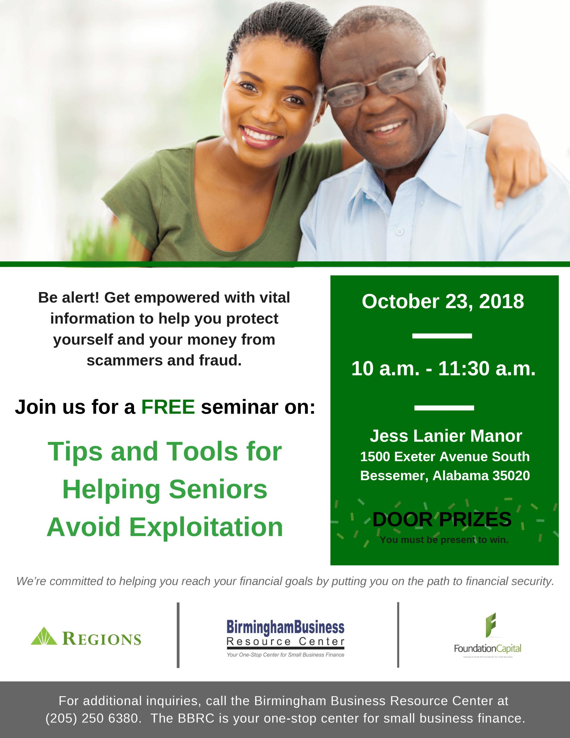 flyer for Regions seminar Tips and Tools for Helping Senior Avoid Financial Exploitation